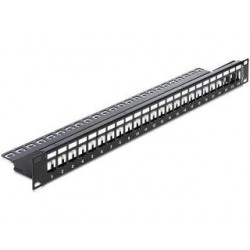 Patch panel Delock 24 port 1U do modułów Keystone + Cable Manager