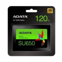 "Dysk SSD ADATA Ultimate SU650 120GB 2,5"" SATA3 (520/320 MB/s) 7mm, 3D NAND / Black Retail"